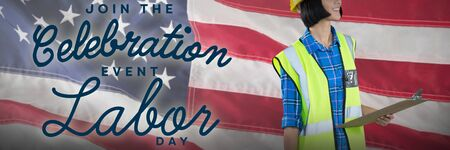 Female architect holding clipboard and blueprint against grey background against close-up of an american flag. USA Labor Day Concept Advertisement. USA Labor Day Concept Advertisement