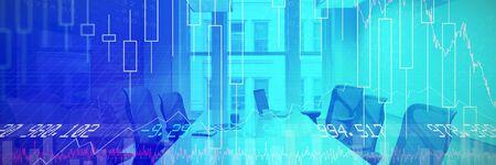 Aktien und Aktien gegen leere Stühle und Tisch im Konferenzraum