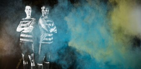 Soccer Players against splashing of color powder