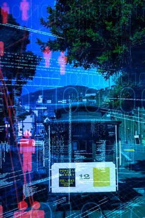 Composite image of illustration of virtual data against tram moving on a track across the town street