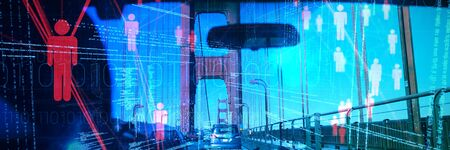 Composite image of illustration of virtual data against view from inside the car of golden gate bridge