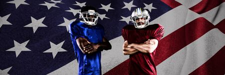 American Football Players against close up of the us flag