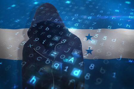 Hiker wearing black hoodie against digitally generated honduras national flag