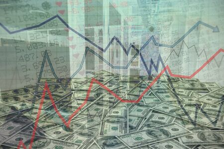 Red line graph against composite image of pile of dollars