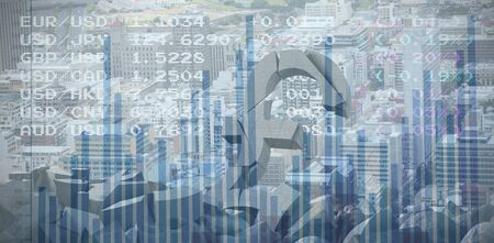 3d image of damaged pound symbol with rocks against blue data Stock fotó