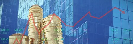 Red line graph against close-up of glass office building Stock fotó - 133700314