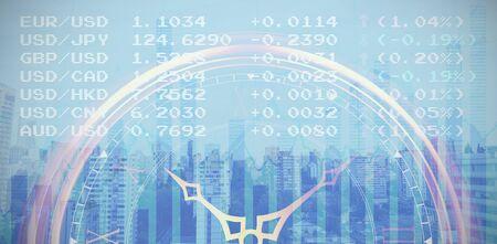 Cropped image of golden outline clock against blue data Stock fotó