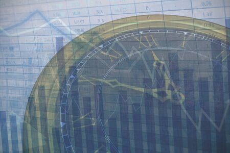 Close up of clock against stocks and shares