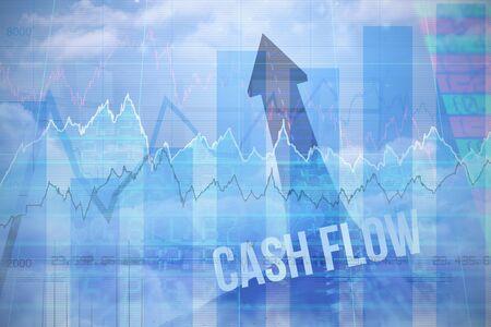 Blue data against cash flow against road turning into arrow Stock fotó
