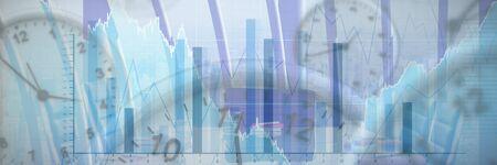 Clocks against blue data Stock fotó