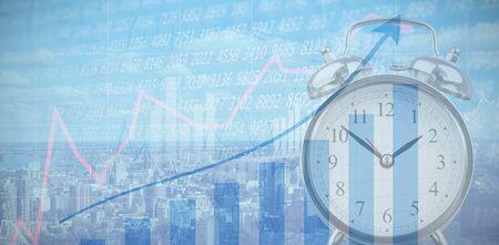 Retro alarm clock against blue data Stock fotó