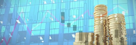 Graph on white background against close-up of glass office building