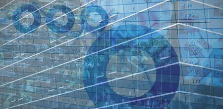 Digital image of money against blue data