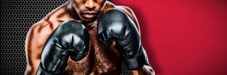 Muscular boxer against black metal texture Zdjęcie Seryjne - 134784803