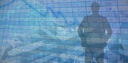 Blue Businessman Silhouette against blue data