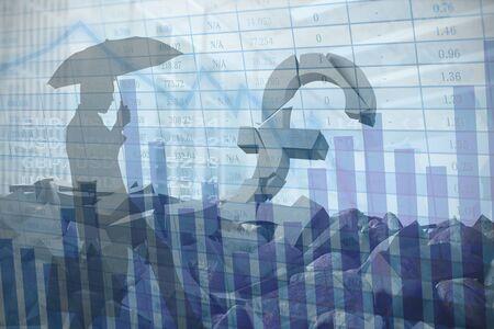 Businessman stepping against blue data