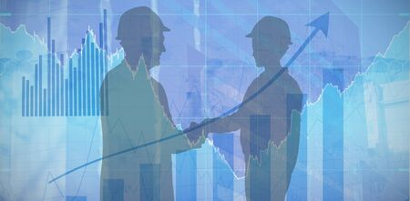 Silhouette business executives shaking hands  against blue data