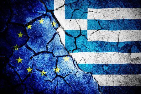 Digitally generated greek national flag against close-up of european flag