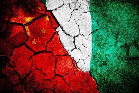Digitally generated nigerian national flag against close-up of chinese flag