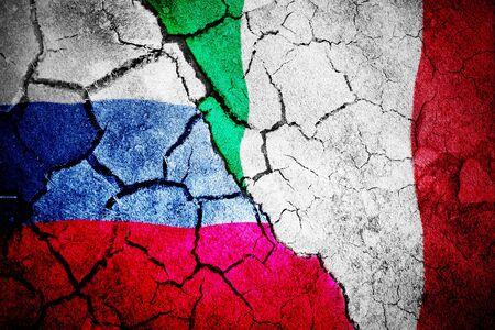 Digitally generated italian national flag against digitally generated russian national flag Stok Fotoğraf