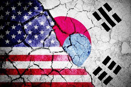 Korea republic national flag against digitally generated american national flag