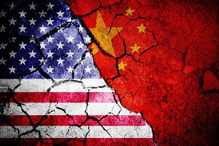 Close-up of Chinese flag against digitally generated american national flag Stok Fotoğraf