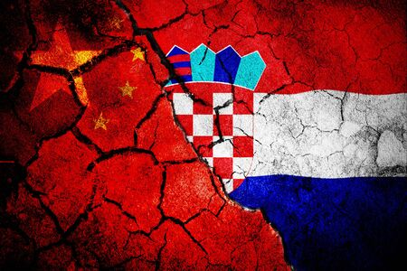 Digitally generated croatia national flag against close-up of chinese flag Stok Fotoğraf