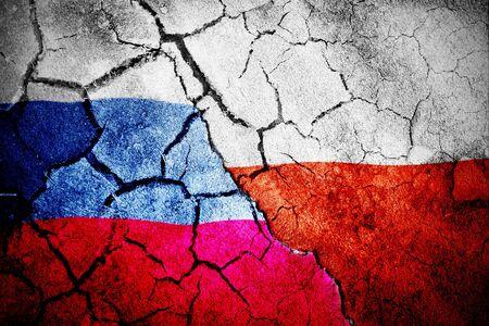 Digitally generated polish flag rippling against digitally generated russian national flag Stok Fotoğraf