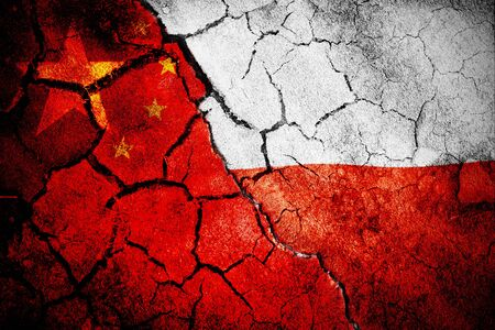 Digitally generated polish flag rippling against close-up of chinese flag