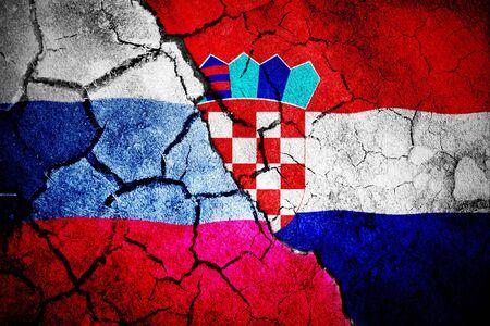 Digitally generated croatia national flag against digitally generated russian national flag