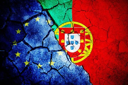 Digitally generated portugese national flag against close-up of european flag