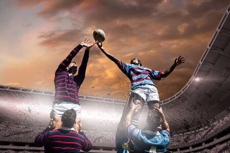Rugby players against composite image of stadium with cloudy sky