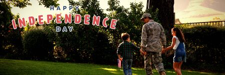 Happy independence day against soldier with kids Banque d'images
