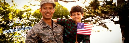 Happy independence day against portrait of soldier with son