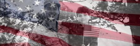 Close-up of an American flag against portrait of soldier with son