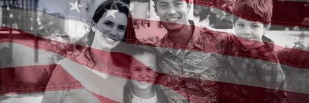 Close-up of an American flag against portrait of soldier with family