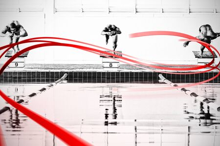 Grey line design against swimmers plunging in the pool