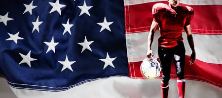 American Football Player against full frame of american flag 스톡 콘텐츠