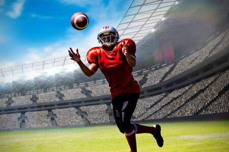 American Football Player against composite image of a stadium