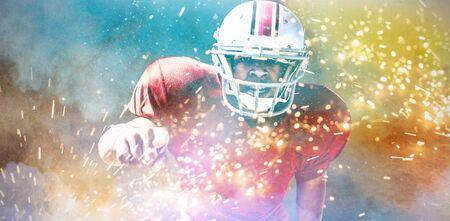 American Football Player against splashing of powder
