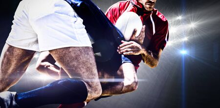 Rugby Player against spotlights
