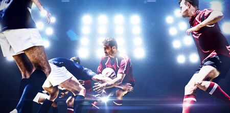American Football Player against composite image of spotlight 스톡 콘텐츠