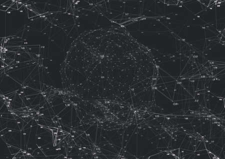 Globe with white links of networks of connections on dark grey background. global network of connections concept digitally generated image.