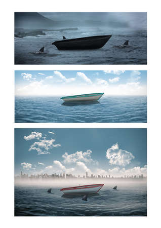Composition of three photos with boat at sea. travel and nature concept digitally generated image.