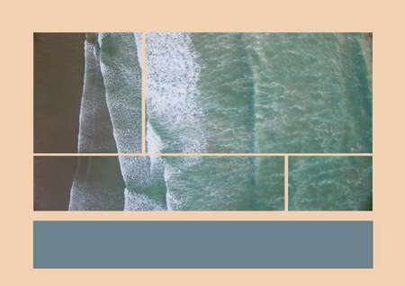 Composition of aerial sea images and grey copy space band on pale pink background. holiday, travel and nature concept with copy space, digitally generated image. space Reklamní fotografie