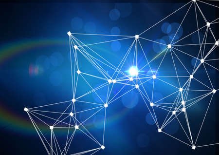 Network of connections against spots of light on blue background. global networking and business technology concept