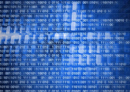 Composition of binary coding processing over blue background. online cyber security concept digitally generated image.