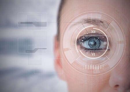 Round scanner and digital interface with data processing against close up of female human eye. cyber security and digital interface technology concept