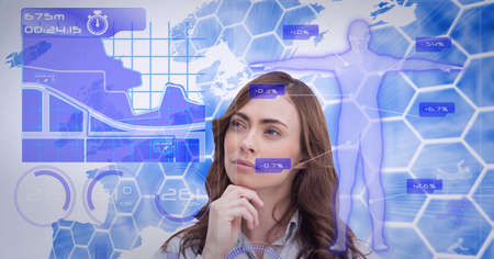 Digital interface with medical data processing against thoughtful caucasian woman. medical research and technology concept