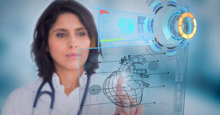 Female doctor touching screen with human heart icon and medical data processing. medical research and technology concept Standard-Bild
